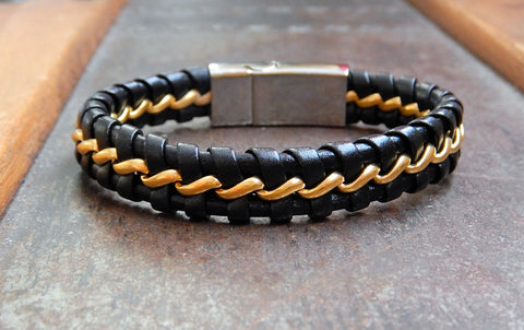 Black Leather and Stainless Steel Bracelet with metal woven in the design.