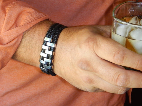 Bravo Three Layer Leather and Stainless Steel Bracelet with drink