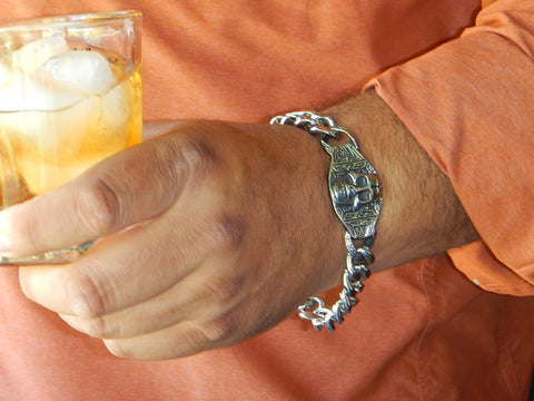 Stainless Steel Skull and Chain Bracelet