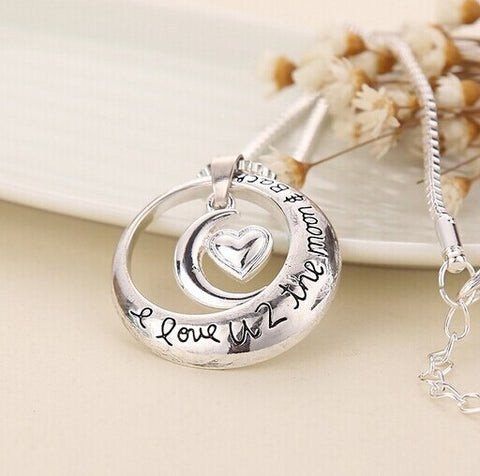 I Love You To The Moon And Back Pendant and Necklace