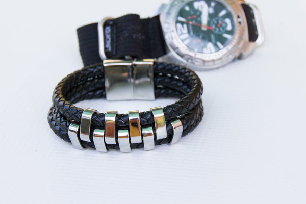 Bravo Three Layer Leather and Stainless Steel Bracelet