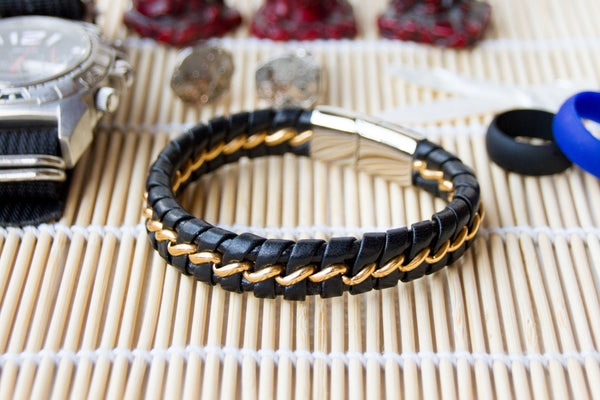 Black Leather and Stainless Steel Bracelet with Bronze Tone Ribbon