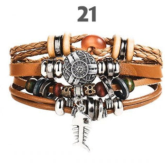 Bohemian Multilayer Leather and Bead Bracelet