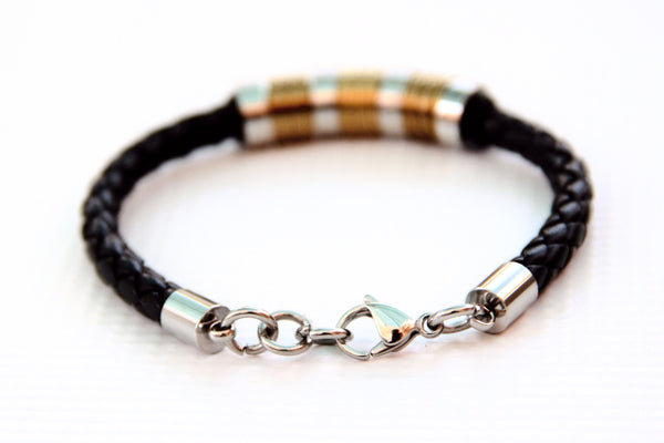 TrendyBracelets.Biz.Black Braid with Bronze and Silver Tone Stainless Steel Rings
