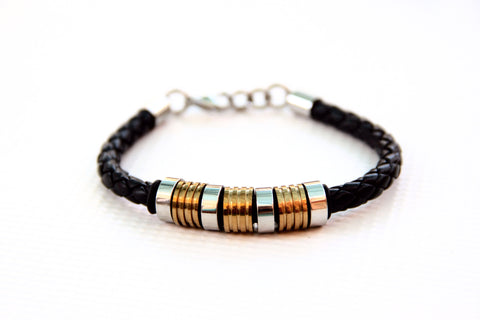 BOHO Bracelet - Black Braid with Bronze and Silver Tone Stainless Steel Rings