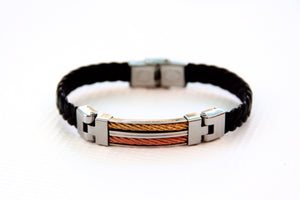 TrendyBracelets.Biz.Black Braided Leather Bracelet with Stainless Steel - Copper Tone and Bronze Tone Accents
