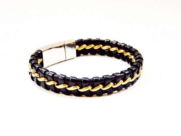 Daily Deal - Black Leather and Stainless Steel Bracelet with Bronze Tone Ribbon