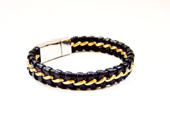TrendyBracelets.Biz.Daily Deal - Black Leather and Stainless Steel Bracelet with Bronze Tone Ribbon