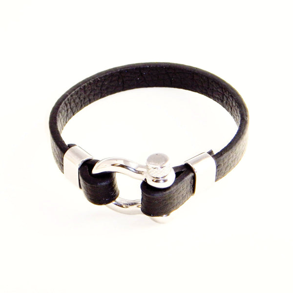 Black Leather Bracelet with Stainless Locking Clasp