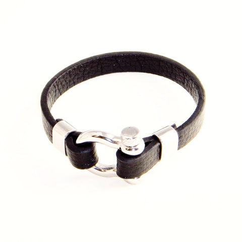 Black Leather Bracelet with Stainless Steel Locking Clasp - A Customer Favorite