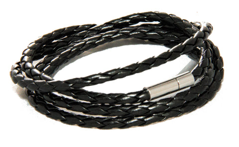 Woven Black wrap bracelet with magnetic clasp from Trendy Bracelets