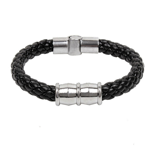 TrendyBracelets.Biz.Italian Style Black Leather Braid Bracelet