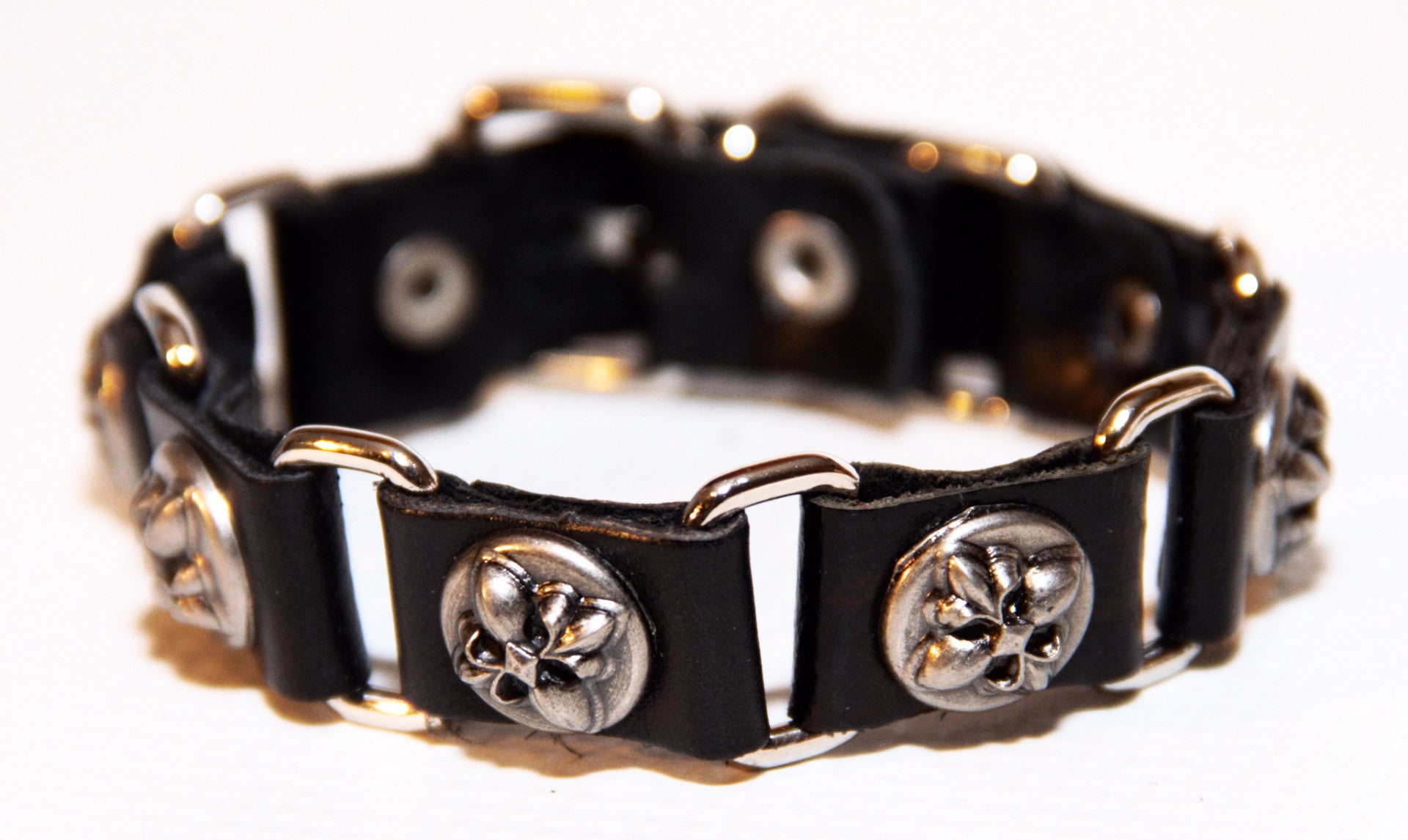 TrendyBracelets.Biz.Bold Fleur de Lis Sectioned Leather Bracelet