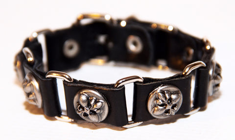 Bold Fleur de Lis Sectioned Leather Bracelet
