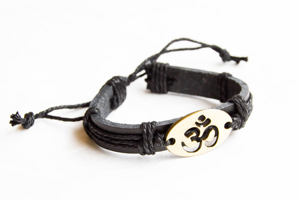 TrendyBracelets.Biz.OM Leather Bracelet - Adjustable Slip Knot