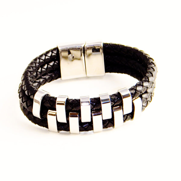 TrendyBracelets.Biz.Bravo Three Layer Leather and Stainless Steel Bracelet