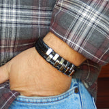 Bravo Three Layer Leather and Stainless Steel Bracelet - get a FREE RING