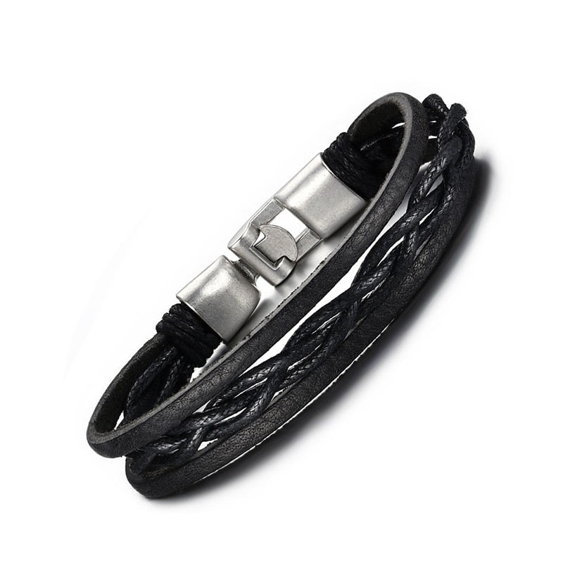 TrendyBracelets.Biz.Brazillian Black Leather Bracelet with Silver Tone Locking Clasp