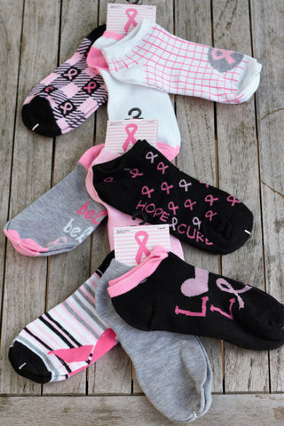 TrendyBracelets.Biz.FREE SOCKS! Ladies Breast Cancer Awareness Ankle Socks - 3 Pairs