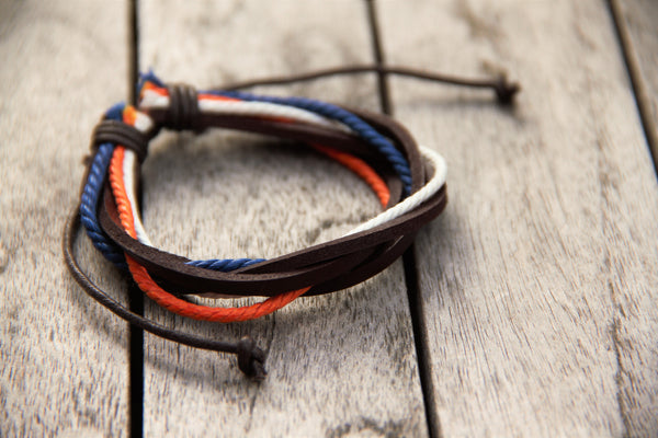 TrendyBracelets.Biz.Bronco Pride Layered Adjustable Leather Bracelet