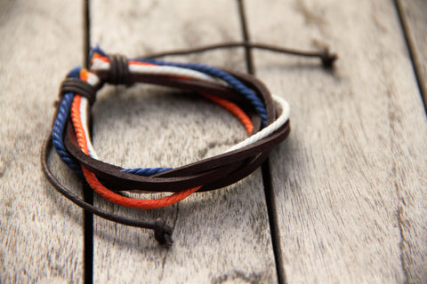 Bronco Pride Layered Adjustable Leather Bracelet