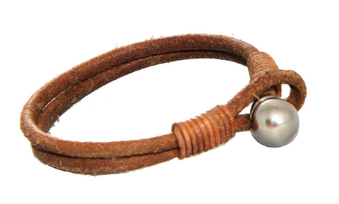 Brown Leather with Stainless Steel Ball Clasp