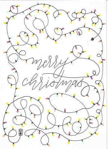 Hand made greeting cards - Merry Christmas Light String 1 - Portrait - 5x7  - Blank Inside