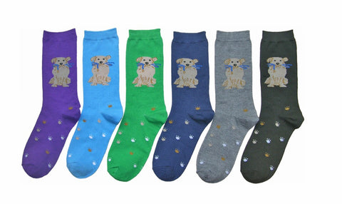 Ladies Doggie Crew Socks with Paw Print Bottoms - Set of 3