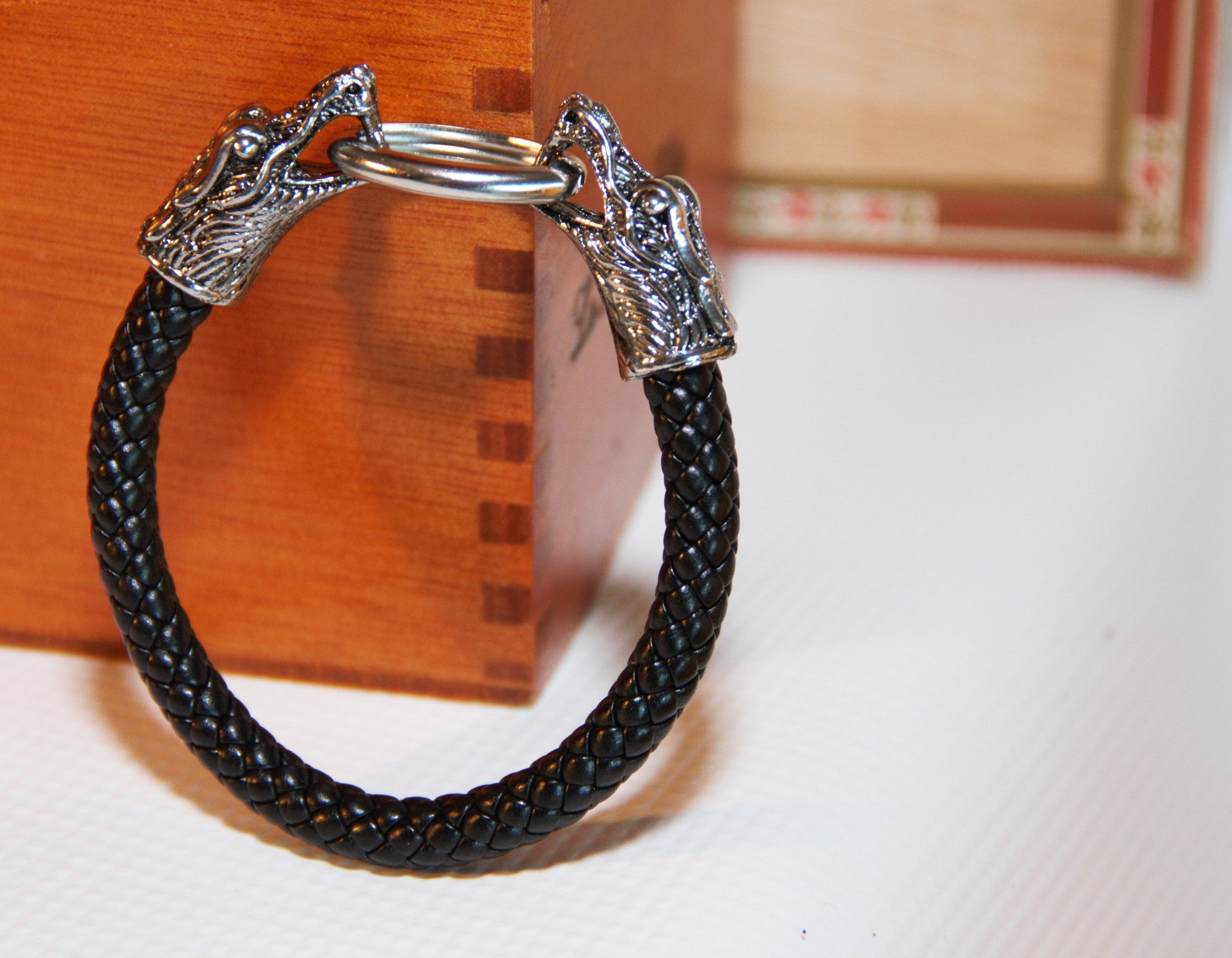 TrendyBracelets.Biz.Double Headed Dragon Black Leather Bracelet