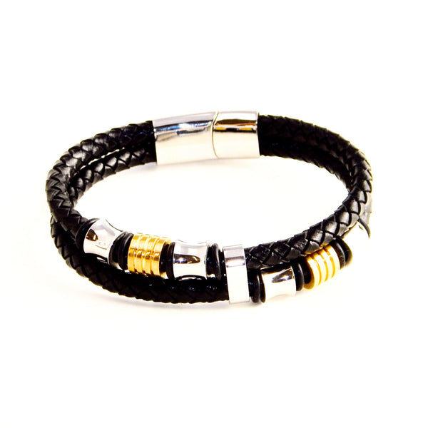 TrendyBracelets.Biz.Dual Black Leather Banded bracelet with Bronze and Silver toned Stainless Steel charms