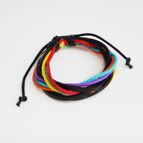 TrendyBracelets.Biz.SPECIAL EVENT PRICING - Handmade Gay Pride Rainbow Leather Bracelet