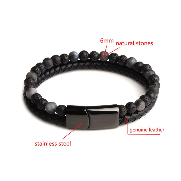 Gemini Leather and Stone Bracelet