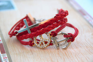 TrendyBracelets.Biz.Ladies Fashion Bracelet with Red Cord with Cross Anchor and Peace Sign