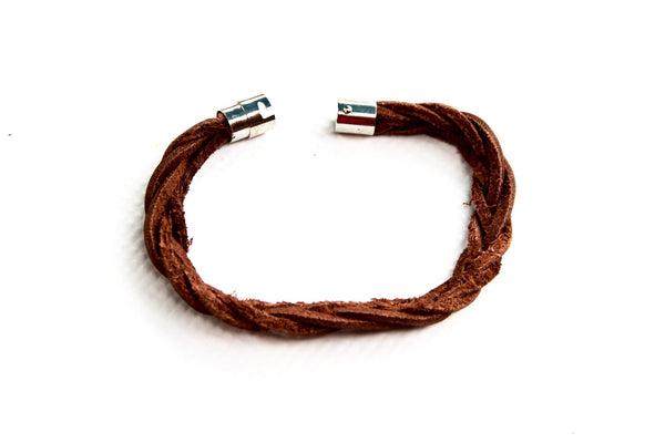 Grecian Twisted Leather Bracelet with Magnetic Locking Clasp