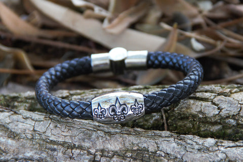 Fleur de Lis - Italian Style Black Leather Braid Bracelet