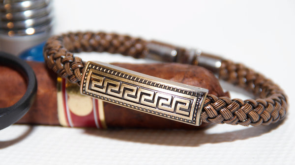 Aztec Charm on Brown Woven Italian Style Leather Bracelet