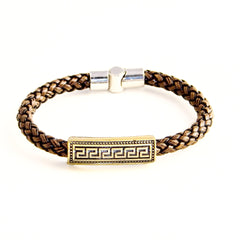 TrendyBracelets.Biz.Greek Key Charm on Italian Style Brown Leather Braided Bracelet
