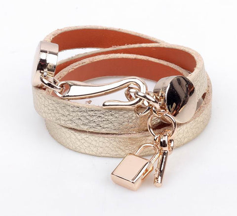 Leather Wrap Bracelet with Lock and Key