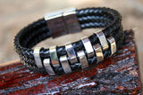 Bravo Black Leather and Stainless Steel Bracelet