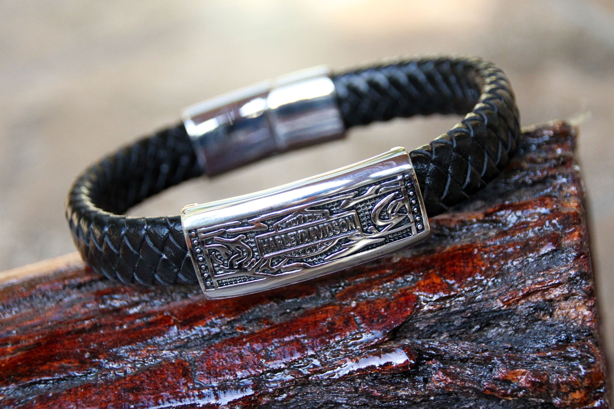 Harley Davidson Bracelet - Black Leather and Stainless Steel