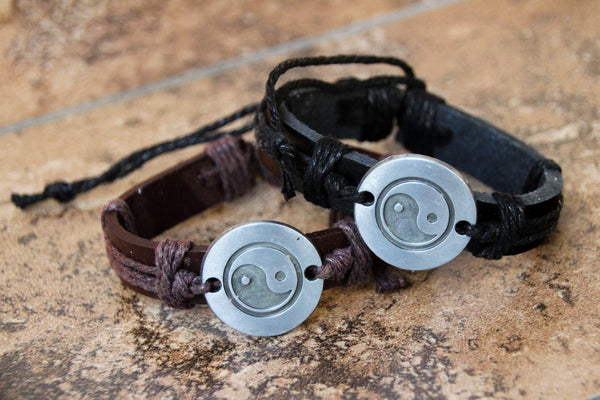 Yin Yang Leather Adjustable Bracelet