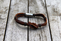 Leather Square Knot Bracelet with Magnetic Clasp from Trendy Bracelets