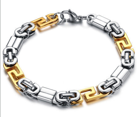 TrendyBracelets.Biz.Lynx - All Stainless Steel Chain with Silver and Gold Tones