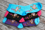 TrendyBracelets.Biz.Ladies Monkeys and Hearts Crew Socks - Set of 3