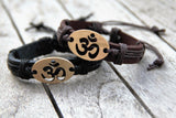 OM Leather Bracelet - Adjustable Slip Knot Black & Brown