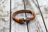 Poseidon Nautical Leather Bracelet with Anchor Clasp from Trendy Bracelets