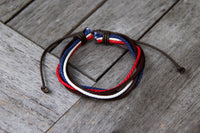 TrendyBracelets.Biz.Red White and Blue Adjustable Leather Bracelet - Special Pricing