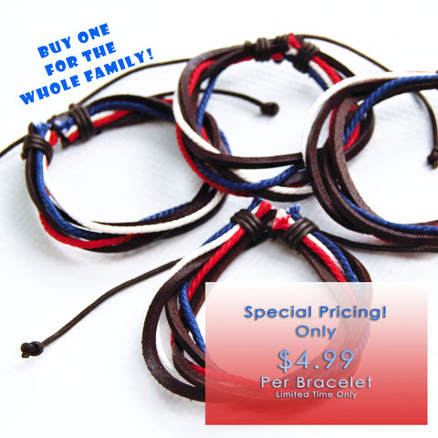 Red White and Blue Adjustable Leather Bracelet - CLEARANCE PRICING