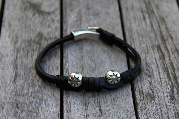 Silver Stars and Black Leather Bracelet - shows stars