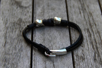 Silver Stars and Black Leather Bracelet - shows clasp
